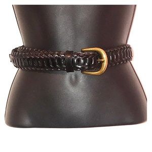 Cole Haan Black Braided Leather Belt Gold Buckle